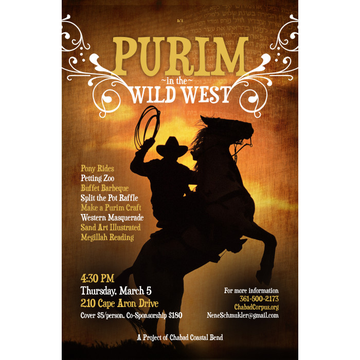 Purim in Wild West Postcard & Web Graphic