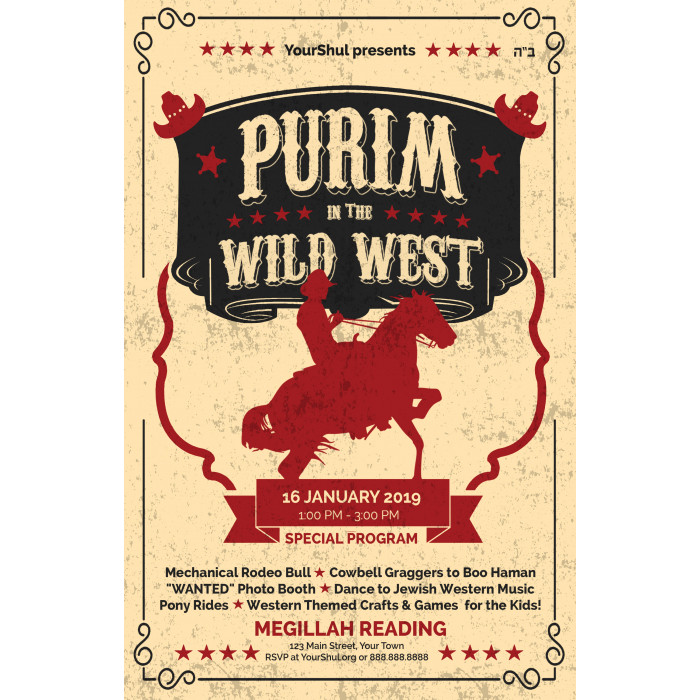 Purim in the Wild West Postcard Front