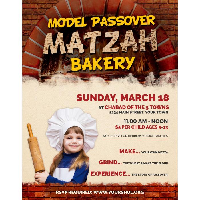 Model Matzah Bakery Flyer
